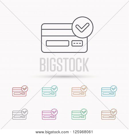 Approved credit card icon. Shopping sign. Linear icons on white background.