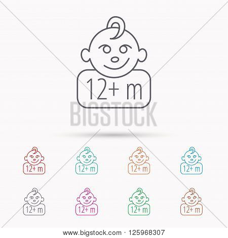 Baby face icon. Newborn child sign. Use of twelve months and plus symbol. Linear icons on white background.