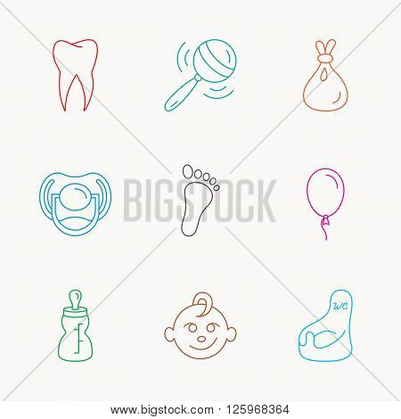 Pacifier, baby boy and bottle icons. Tooth, footprint and wc toilet linear signs. Rattle, air balloon and sack flat line icons. Linear colored icons.