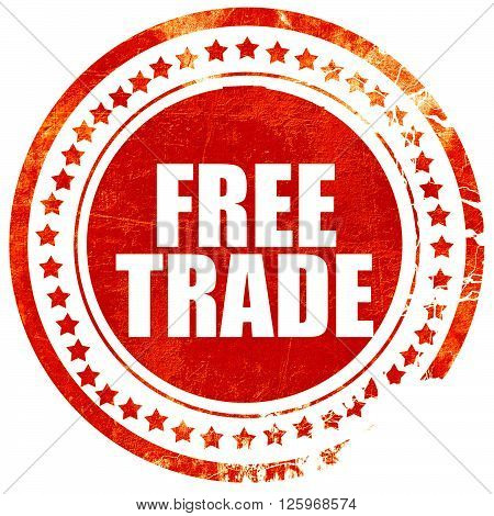 free trade, isolated red stamp on a solid white background