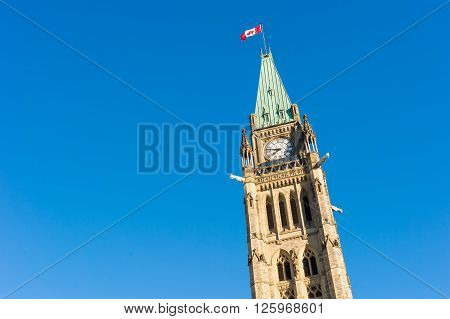 Close up of peace tower (parliament buiding) in Ottawa Canada
