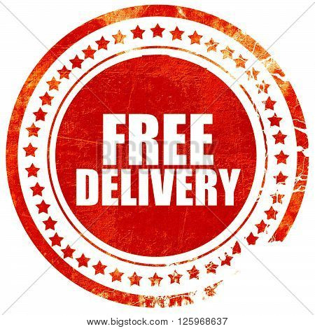 free delivery, isolated red stamp on a solid white background