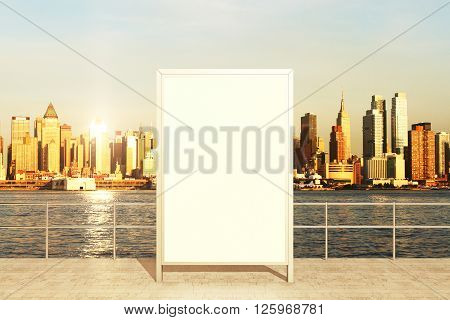 Observation deck with blank banner and city view during daytime. Mock up 3D rendering