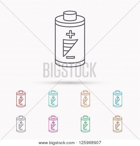 Battery icon. Electrical power sign. Rechargeable energy symbol. Linear icons on white background.