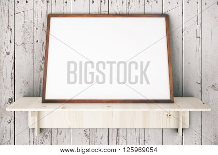 Wooden shelve with blank picture frame on aged white wooden wall. Mock up 3D Rendering