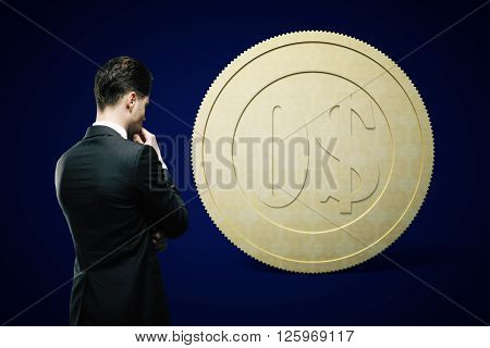 Financial concept with thinking businessman looking at zero dollar coin on dark blue background. 3D Rendering