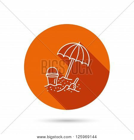 Beach umbrella in sand icon. Bucket with shovel sign. Baby summer games symbol. Round orange web button with shadow.