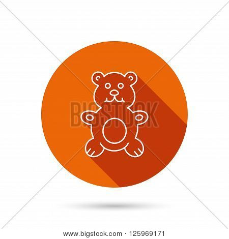 Teddy-bear icon. Baby toy sign. Plush animal symbol. Round orange web button with shadow.