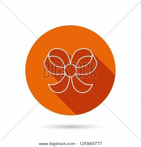 Bow icon. Gift bow-knot sign. Round orange web button with shadow.