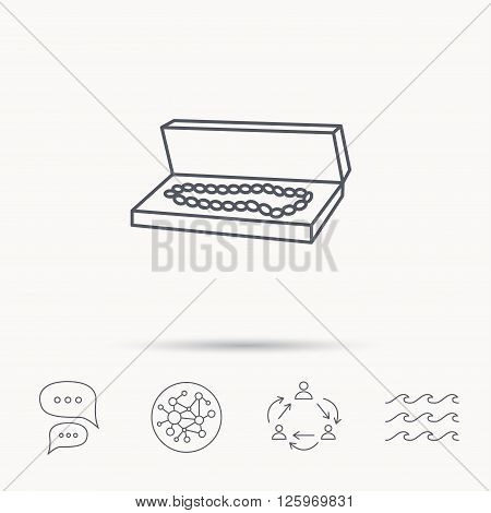 Jewelry box icon. Luxury precious sign. Global connect network, ocean wave and chat dialog icons. Teamwork symbol.