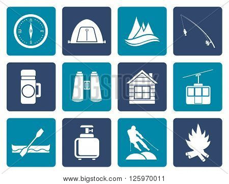 Flat travel, Tourism, vacation and mountain objects - vector illustration