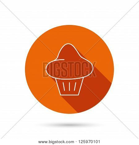 Brioche icon. Bread bun sign. Bakery symbol. Round orange web button with shadow.
