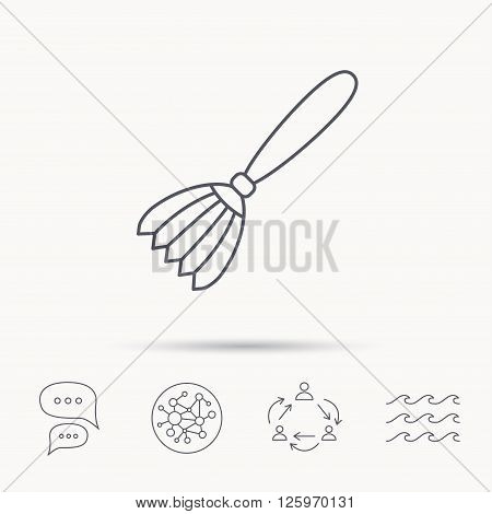 Brush icon. Paintbrush tool sign. Artist instrument symbol. Global connect network, ocean wave and chat dialog icons. Teamwork symbol.