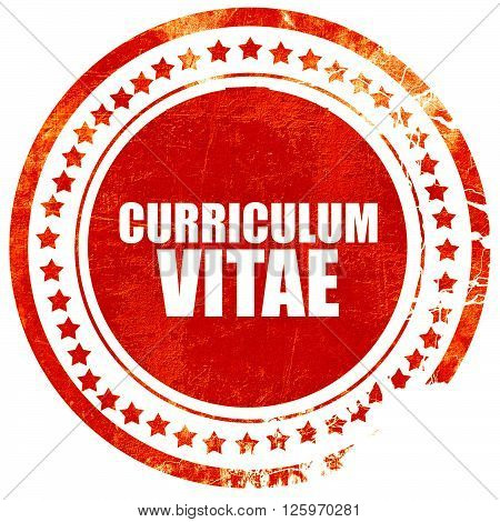 curriculum vitae, isolated red stamp on a solid white background