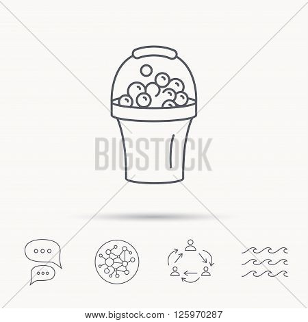 Bucket with foam icon. Soapy cleaning sign. Global connect network, ocean wave and chat dialog icons. Teamwork symbol.