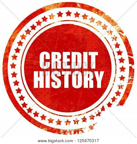 credit history, isolated red stamp on a solid white background