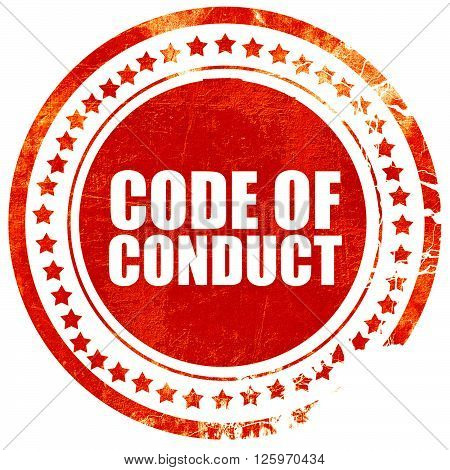 code of conduct, isolated red stamp on a solid white background