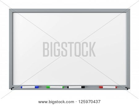 Blank Dry Erase White Board with Gray Metal Frame Tray and Four Color Felt-Tip Pens Isolated on White Background