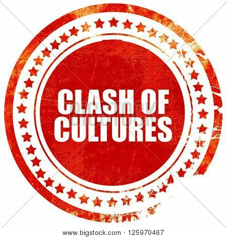 clash of cultures, isolated red stamp on a solid white background