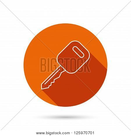 Car key icon. Transportat lock sign. Round orange web button with shadow.