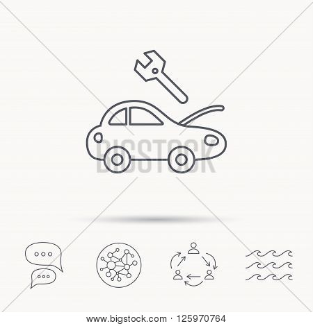 Car service icon. Transport repair with wrench key sign. Global connect network, ocean wave and chat dialog icons. Teamwork symbol.