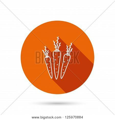 Carrots icon. Vegetarian food sign. Natural vegetables symbol. Round orange web button with shadow.