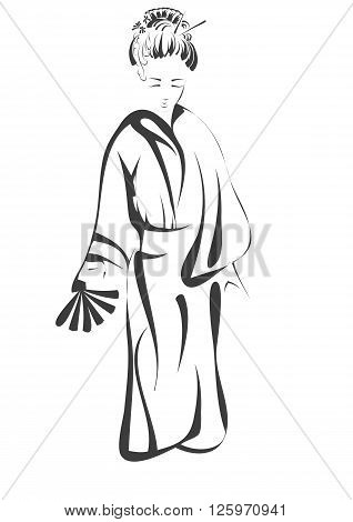 geisha. abstract silhouette isolated on white background