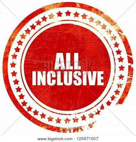 all inclusive, isolated red stamp on a solid white background