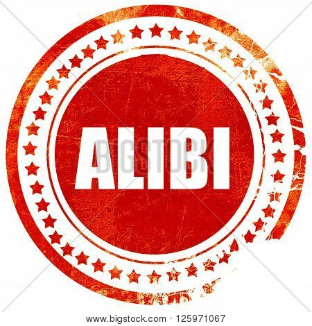 alibi, isolated red stamp on a solid white background
