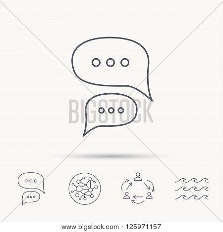 Chat icon. Comment message sign. Dialog speech bubble symbol. Global connect network, ocean wave and chat dialog icons. Teamwork symbol.