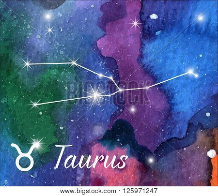 Taurus horoscope star sign on hand painted watercolor abstract galaxy background. Vector graphic design elements. Purple violet green pink and blue astrology mystic illustration.