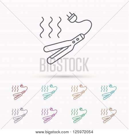 Curling iron icon. Hairstyle electric tool sign. Linear icons on white background.