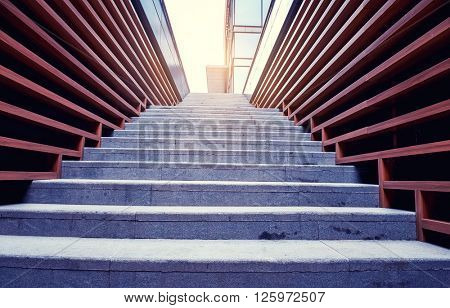 staircase with wooden wall