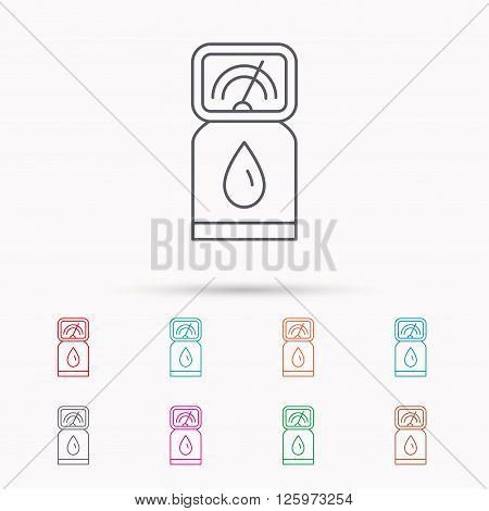 Gas station icon. Petrol fuel pump sign. Linear icons on white background.