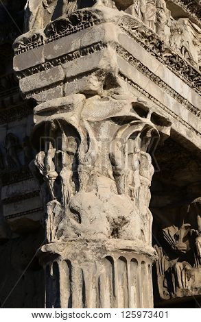 Detail of a roman corinthian capital column and a frieze from ancient Forum of Nerva