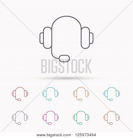 Headphones with microphone icon. Musical notes signs. Linear icons on white background.