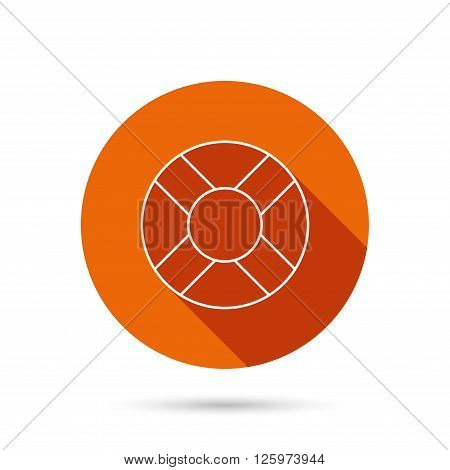Lifebuoy icon. Lifebelt sos sign. Lifesaver help equipment symbol. Round orange web button with shadow.