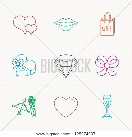Love heart, brilliant and engagement ring icons. Bow, smile and gift box linear signs. Valentine amour arrows flat line icons. Linear colored icons.