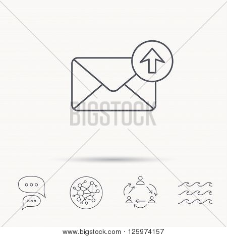 Mail outbox icon. Email message sign. Upload arrow symbol. Global connect network, ocean wave and chat dialog icons. Teamwork symbol.