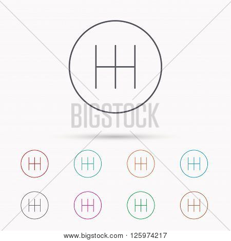 Manual gearbox icon. Car transmission sign. Linear icons on white background.