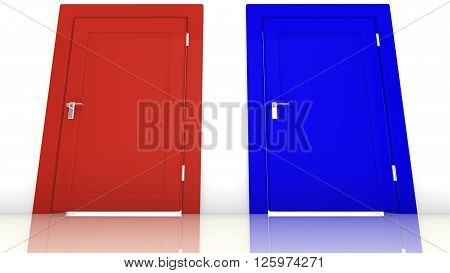 3D illustration of the election in the USA with a red closed door for the republicans and a blue closed door for the democrats
