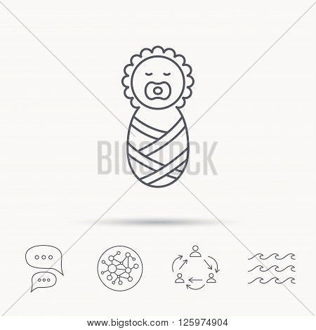 Newborn baby icon. Toddler sign. Child wrapped in blanket symbol. Global connect network, ocean wave and chat dialog icons. Teamwork symbol.