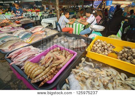 Kota Kinabalu Sabah Malaysia - Apr 16 2016 : Assorted type of seafood fish ready to be grilled at Kota Kinabalu night eatery. Grilled fish is popular among tourist in Sabah.