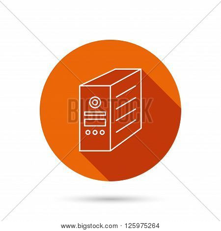 Computer server icon. PC case or tower sign. Round orange web button with shadow.