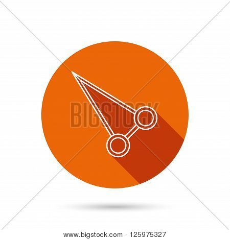 Pean forceps icon. Medical surgery tool sign. Round orange web button with shadow.