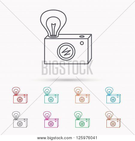 Retro photo camera icon. Photographer equipment sign. Camera with lamp flash. Linear icons on white background.