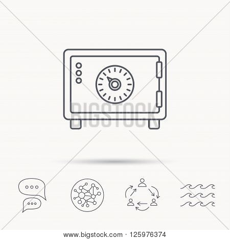 Safe icon. Money deposit sign. Combination lock symbol. Global connect network, ocean wave and chat dialog icons. Teamwork symbol.
