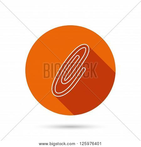 Safety pin icon. Paperclip sign. Round orange web button with shadow.