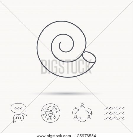 Sea shell icon. Spiral seashell sign. Mollusk shell symbol. Global connect network, ocean wave and chat dialog icons. Teamwork symbol.