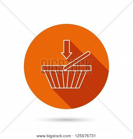Shopping cart icon. Online buying sign. Round orange web button with shadow.